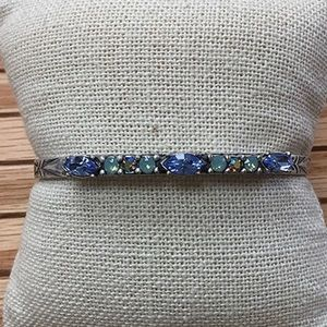 Jewelry - Etched Antiqued Silver Cuff with Crystals,NWT